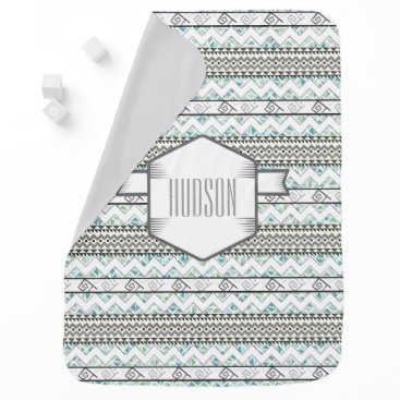 Aztec Themed Personalized Mint and Gray Abstract Aztec Triangle Stroller Blanket