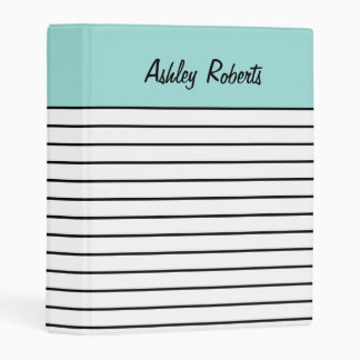 Personalized Mint Black White Stripes Cool Planner Mini Binder
