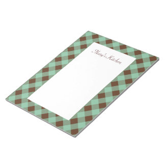 Personalized Mint Chocolate Gingham Notepad
