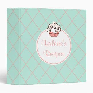 Personalized Mint Cupcake Recipe Binder
