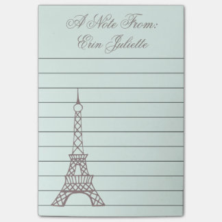 Personalized Mint Eiffel Tower Post It Notes Gift