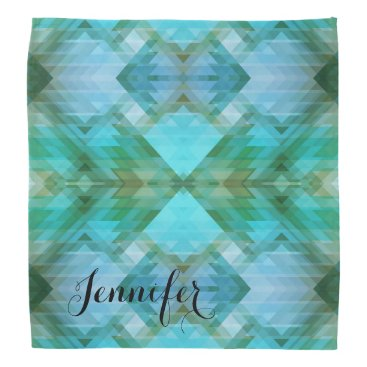 Aztec Themed Personalized Mint Geometric Pattern Bandana