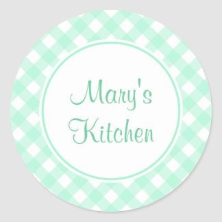 Personalized Mint Gingham Kitchen Stickers