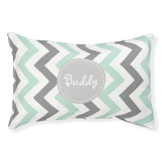Personalized Mint Green and Grey Chevron Pet Bed