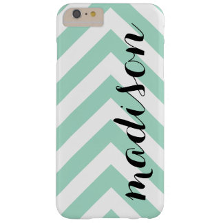 Personalized Mint Green and White Arrow Chevron Barely There iPhone 6 Plus Case