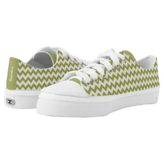 Personalized Mint Green And White Chevron Stripe Printed Shoes