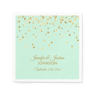 Personalized MINT green Gold Confetti Wedding Napkin