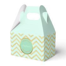 Personalized Mint Green Gold Foil Chevron Pattern Favor Box