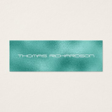 Professional Business Personalized Mint Green Metallic Business Card