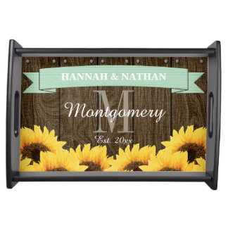 PERSONALIZED MINT RUSTIC SUNFLOWER WEDDING SERVING TRAY