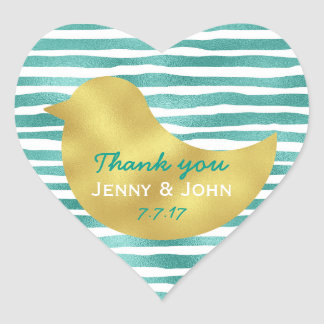 Personalized Mint Stripes Gold Heart Glossy Heart Sticker