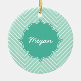 Personalized Mint Thin Chevron Quatrefoil Ceramic Ornament