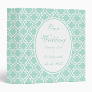 Personalized Mint Wedding Scrapbook 3 Ring Binder