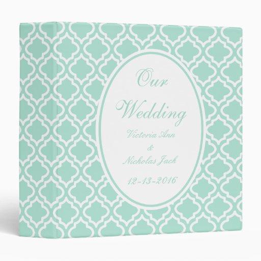 Personalized Mint Wedding Scrapbook 3 Ring Binder