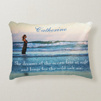 "Personalized Missing The Beach ""She Dreams"" Decorative Pillow"