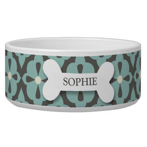 Personalized mod blue flora dog bone pet food bowl