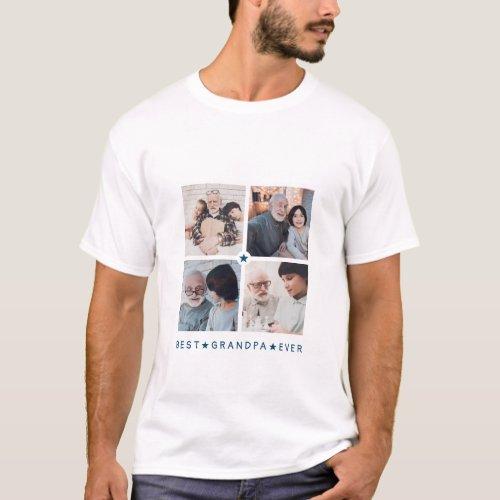 Personalized Modern 4_Photo Best Grandpa Ever T_Shirt