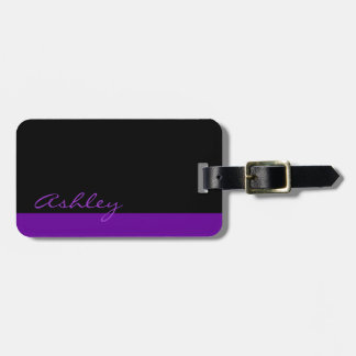 Personalized Modern 519 Purple Luggage Tag