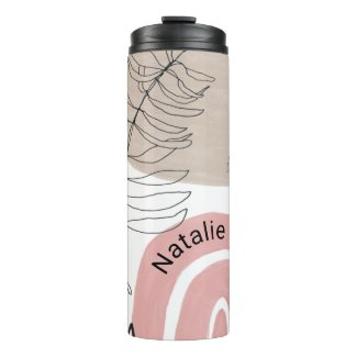 Personalized Modern Abstract Rainbow Botanical Thermal Tumbler