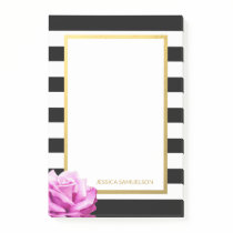 Personalized Modern Black White Stripes Pink Rose Post-it Notes