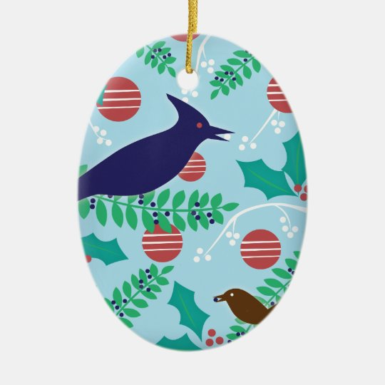 Personalized Modern Blue Jay Holiday Ornament
