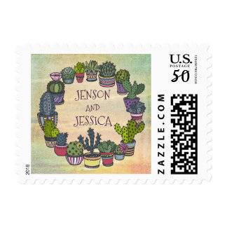 Personalized Modern Colorful Cactus Wedding Postage
