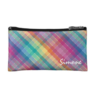 Personalized Modern Colorful Rainbow Plaid Stripes Cosmetic Bag