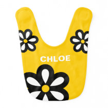 Personalized Modern Daisy Baby Bib - Yellow