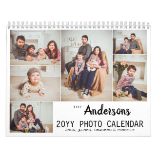 Personalized Modern Family Photo Collage Calendar