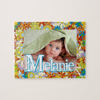 Personalized Modern Floral Pattern Your Photo Jigsaw Puzzles