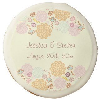 Personalized Modern Floral Wedding Favors Sugar Cookie