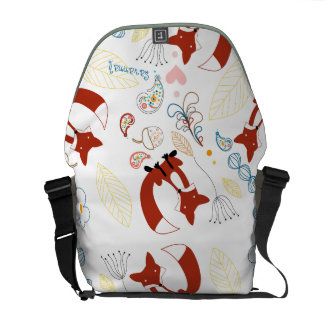 Personalized Modern Fox  Woodland Pattern Courier Bag