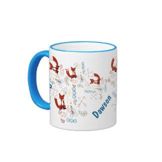 Personalized Modern Fox Woodland Pattern Mugs