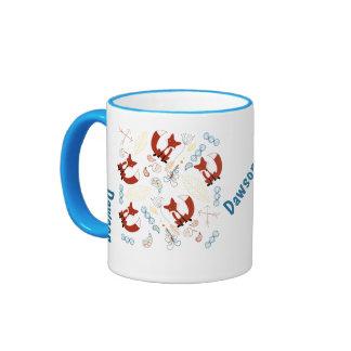 Personalized Modern Fox Woodland Pattern Coffee Mugs