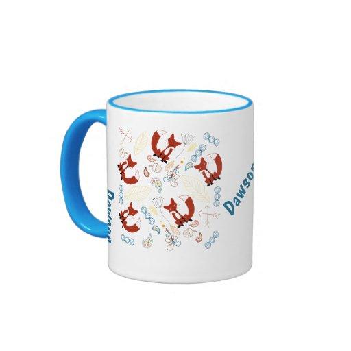 Personalized Modern Fox Woodland Pattern Coffee Mugs Zazzle