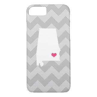 Personalized Modern Gray Chevron Alabama Heart iPhone 7 Case