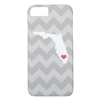 Personalized Modern Gray Chevron Florida Heart iPhone 8/7 Case