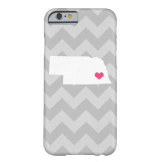 Personalized Modern Gray Chevron Nebraska Heart Barely There iPhone 6 Case