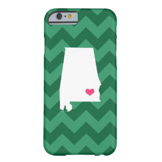 Personalized Modern Green Chevron Alabama Heart Barely There iPhone 6 Case