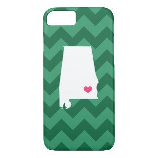 Personalized Modern Green Chevron Alabama Heart iPhone 7 Case