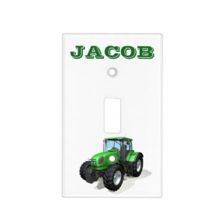 Personalized Modern Green Farm Tractor Light Switch Cover