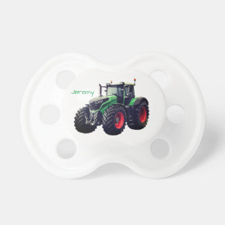 Personalized Modern Green Farm Tractor Pacifier
