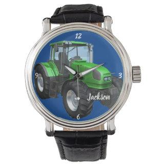 Personalized Modern Green Farm Tractor   Watch