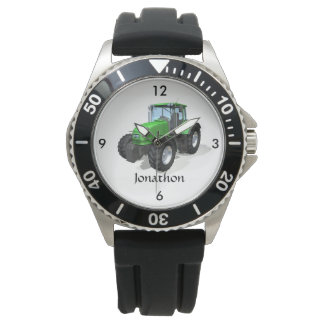 Personalized Modern Green Farm Tractor Wristwatches