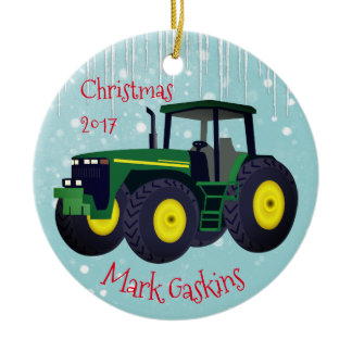 """Personalized Modern Green Tractor """"Christmas 20XX"""" Ceramic Ornament"""