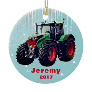 "Personalized Modern Green Tractor ""Christmas 20XX"" Ceramic Ornament"