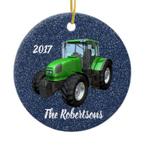Personalized Modern Green Tractor on Blue Ceramic Ornament