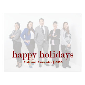 Personalized Modern Happy Holiday Red Text Postcard