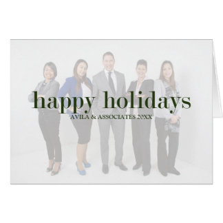 Personalized Modern Happy Holidays Green Text Card