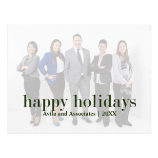 Personalized Modern Happy Holidays Green Text Postcard